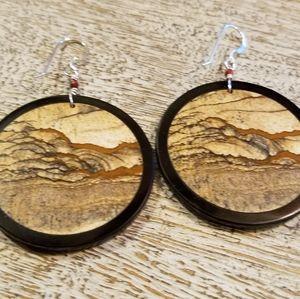 Large picture jasper & obsidian gemstone earrings